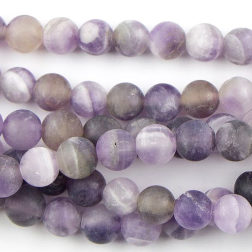 6mm Round Matte DOG TEETH AMETHYST - 8 inch Strand