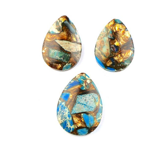 33-35mm BLUE IMPRESSION JASPER & BRONZITE Tear Drop Pendant