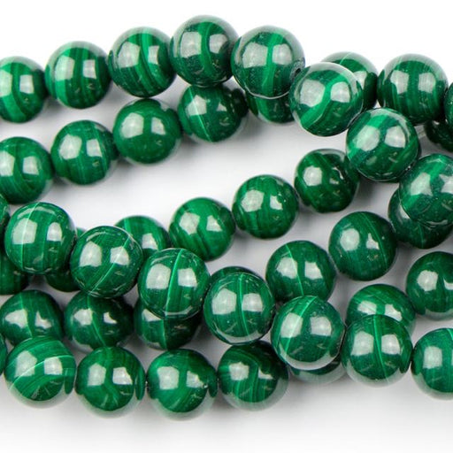 8mm Round MALACHITE - 8 inch Strand