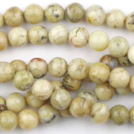 8mm Round WHITE AFRICAN OPAL - 8 inch Strand