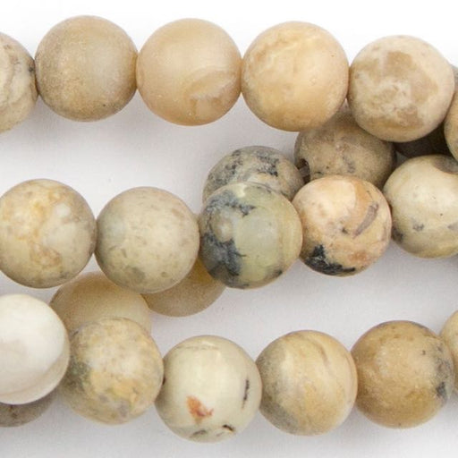 6mm Round Matte WHITE AFRICAN OPAL - 8 inch Strand