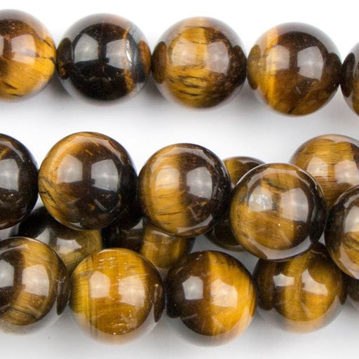 10mm Round TIGER EYE - 8 inch Strand