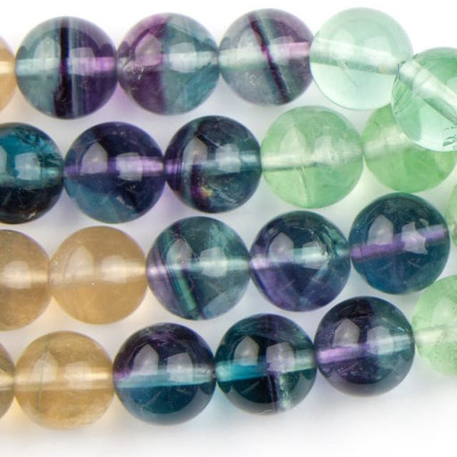 10mm Round FLUORITE Banded - 8 inch Strand