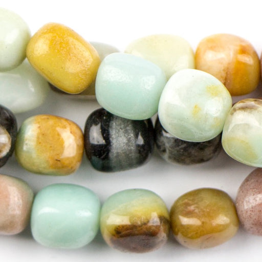 8mm x 10mm Black-Gold AMAZONITE Tumble Nugget - 8 inch Strand