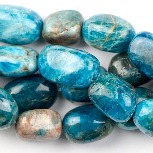 12mm x 6mm BLUE APATITE Tumble Nugget - 8 inch Strand