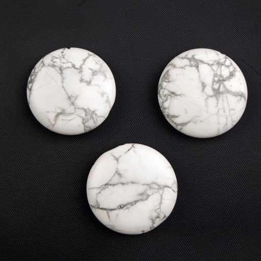 30mm WHITE HOWLITE Coin