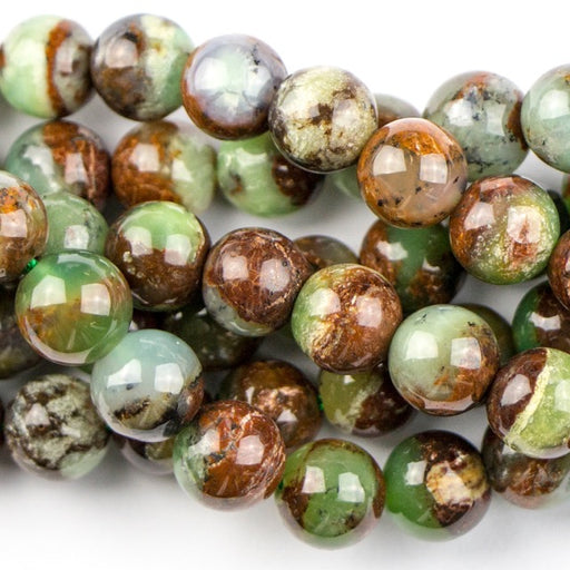 8mm Round CHRYSOPRASE with Brown - 16 inch Strand