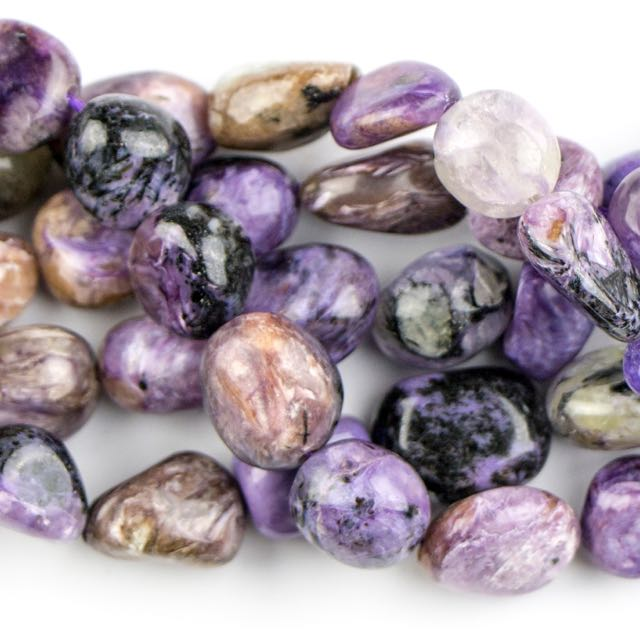 8mm x 10mm Pebble CHAROITE - 8 inch Strand