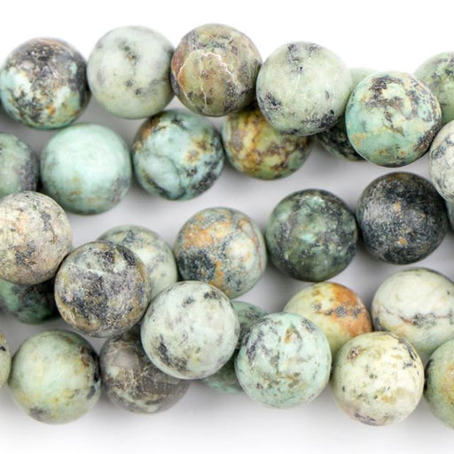 10mm Round Matte AFRICAN TURQUOISE - 8 inch Strand
