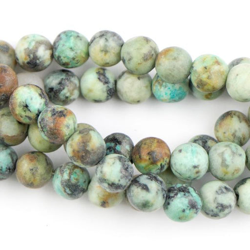 6mm Round Matte AFRICAN TURQUOISE - 8 inch Strand
