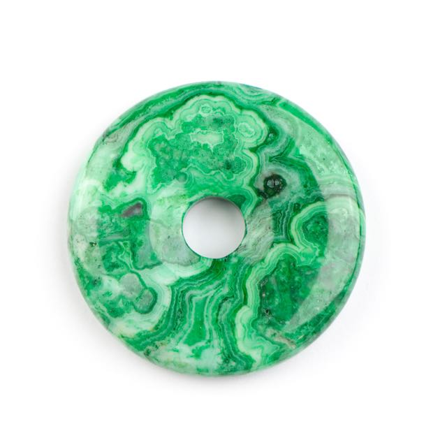 40mm GREEN CRAZY LACE AGATE Donut Pendant