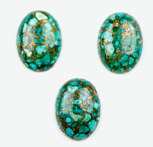 30mm x 22mm Turquoise Oval Cabochon w/Copper Metal Matrix