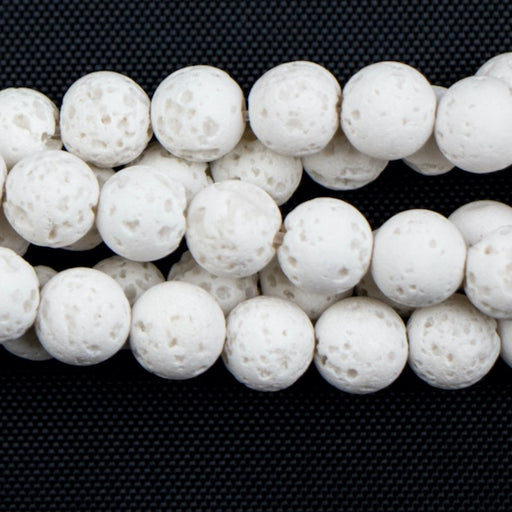 6-7mm Round White (dyed) LAVA - 16 inch Strand