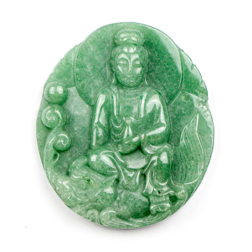 45mm x 50mm GREEN AVENTURINE Carved Buddha Pendant