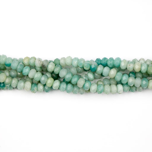 8mm Faceted Rondelle Large Hole AMAZONITE  - 8 inch Strand