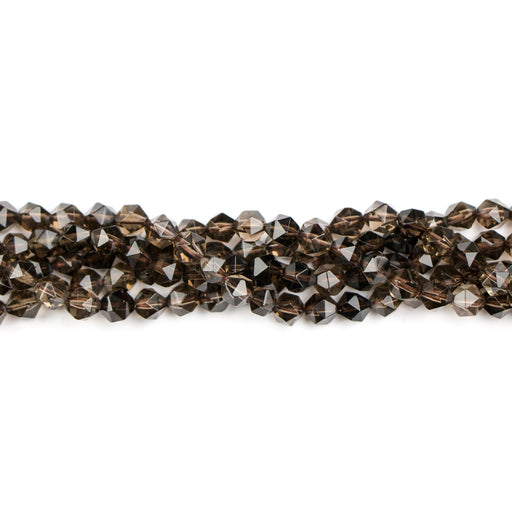 6mm Star Cut Round SMOKY QUARTZ - 15-16 inch Strand***