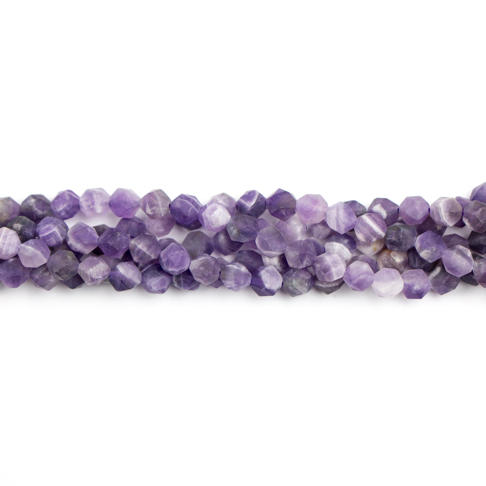 6mm Star Cut Round Matte DOG TEETH AMETHYST - 16 inch Strand