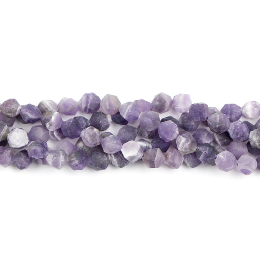 8mm Star Cut Round Matte DOG TEETH AMETHYST - 16 inch Strand