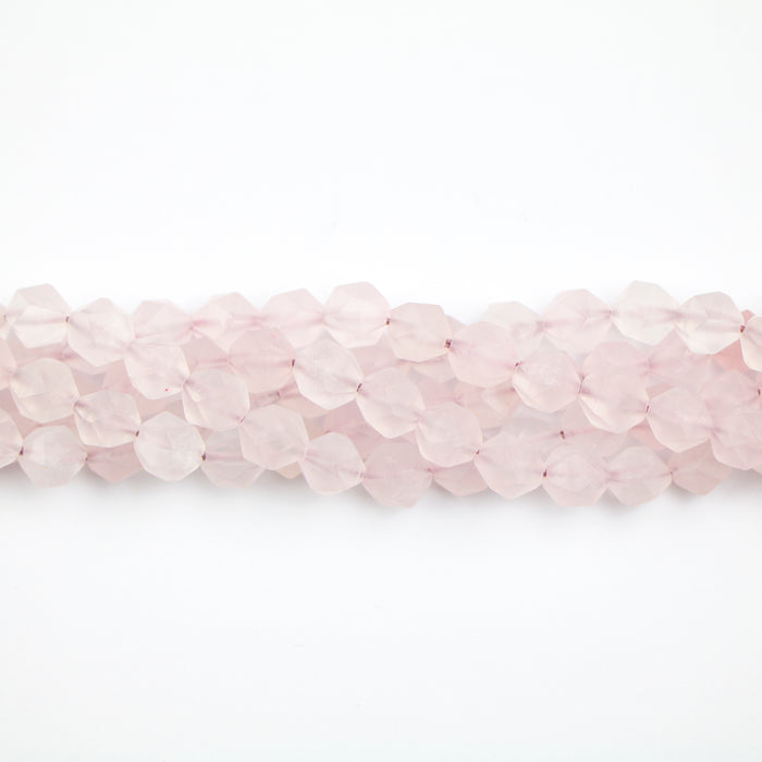 8mm Star Cut Round Rose QUARTZ - 15-16 inch Strand