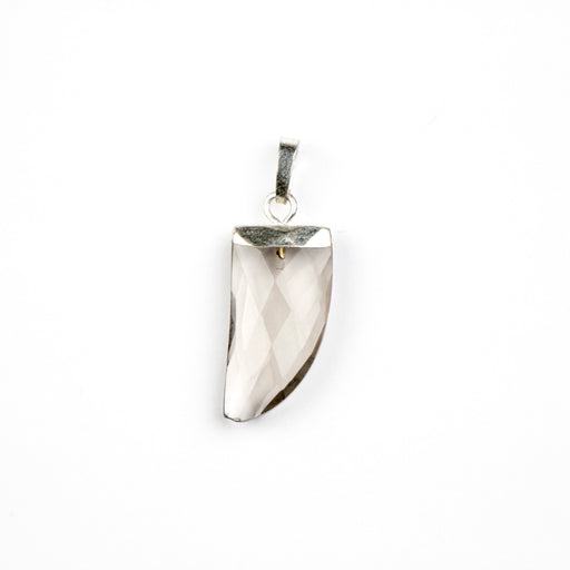 10mm x 20mm Silver-Plated Smoky QUARTZ Tooth Pendant