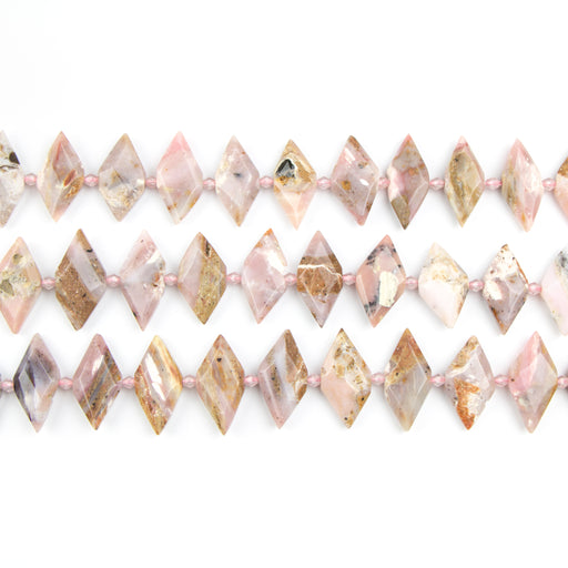 15mm x 31mm Faceted Pink OPAL Marquise - 8 inch Strand