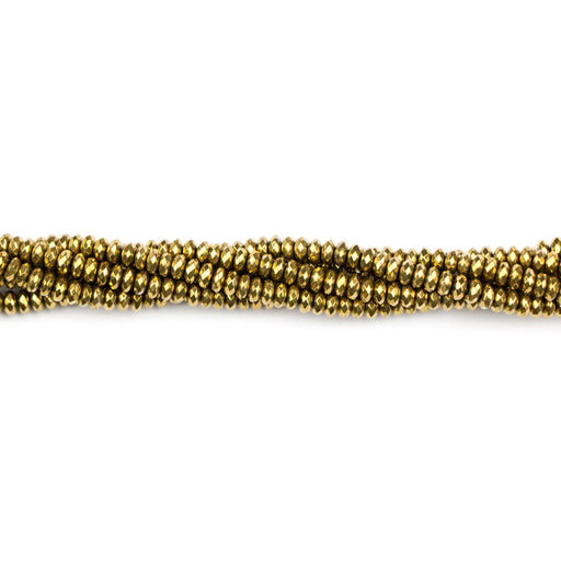 4mm Faceted Rondelle HEMATITE Dark Gold Plated - 15-16 inch Strand***