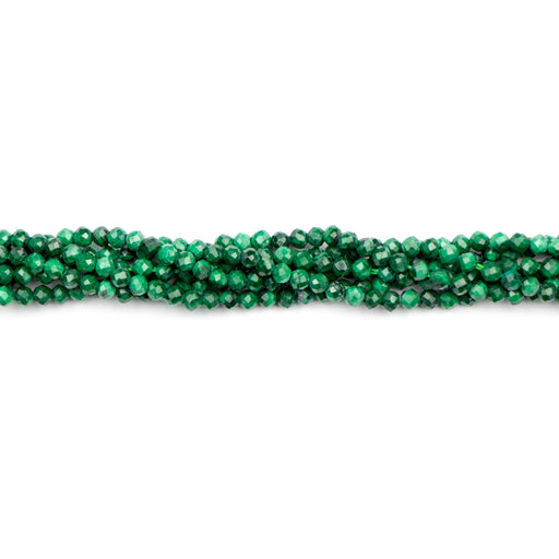 2mm Faceted Round MALACHITE - 15-16 inch Strand