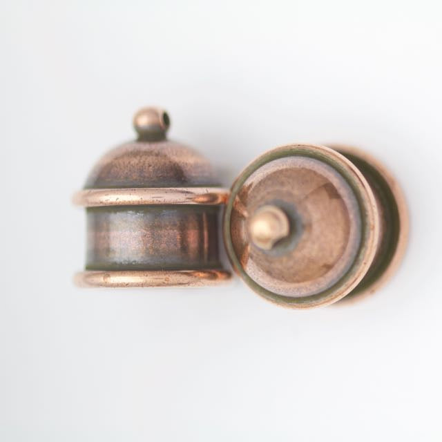 Brass Pagoda Cord End Cap (H:15.5mm; OD:13.8mm; ID:10.0mm; Hole ID:1.55mm) - Antique Copper Plate