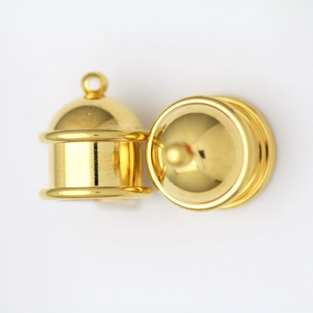 Brass Pagoda Cord End Cap (H:15.5mm; OD:13.8mm; ID:10.0mm; Hole ID:1.55mm) - Bright Gold Plate