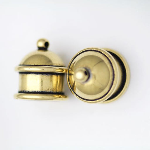 Brass Pagoda Cord End Cap - Antique Brass