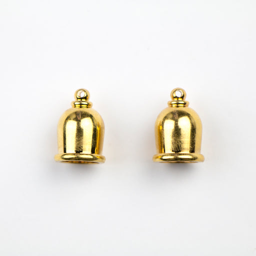 Brass Taj Cord End Cap (H:16.0mm; OD:11.6mm; ID:8.0mm; Hole ID:1.50mm) - Bright Gold Plate