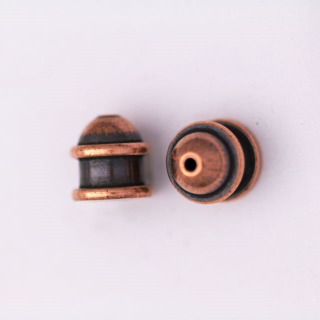 Brass Capitol Cord End Cap (H:10.0mm; OD:9.7mm; ID:6.0mm; Hole ID: 1.5mm) - Antique Copper Plate