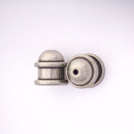 Brass Capitol Cord End Cap (H:10.0mm; OD:9.7mm; ID:6.0mm; Hole ID: 1.5mm) - Oxidized Tin Plate