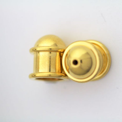 Brass Capitol Cord End Cap (H:12.6mm; OD:11.7mm; ID:8.0mm; Hole ID:1.5mm) - Gold Plate