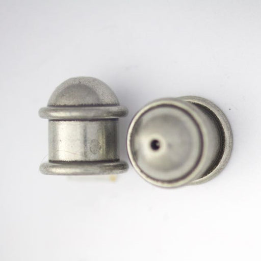 Brass Capitol Cord End Cap (H:12.6mm; OD:11.7mm; ID:8.0mm; Hole ID:1.5mm) - Oxidized Tin Plate