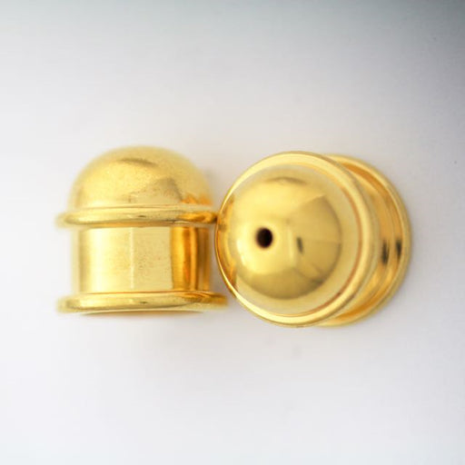 Brass Capitol Cord End Cap (H:13.5mm; OD:13.9mm; ID:10.0mm; Hole ID:1.5mm) - Bright Gold Plate