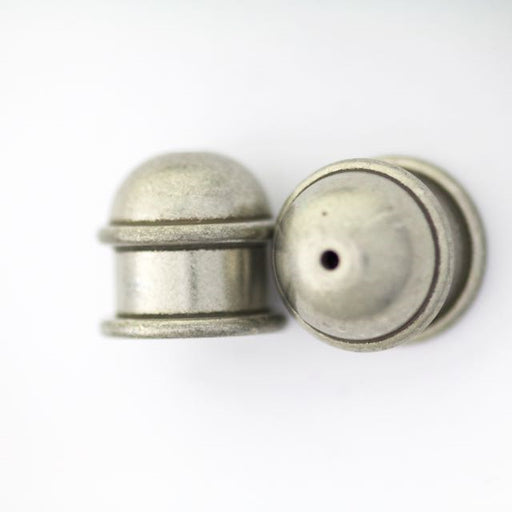 Brass Capitol Cord End Cap (H:13.5mm; OD:13.9mm; ID:10.0mm; Hole ID:1.5mm) - Oxidized Tin Plate