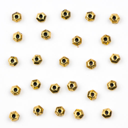3mm Faceted Spacer Beads (1.0mm ID) - Antique Gold Plate***
