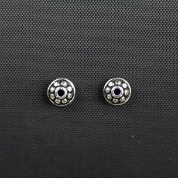 7mm Dotted Spacer Bead - Antique Silver Plate