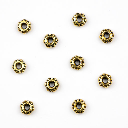 4.1mm Turkish Spacer Beads (1.5mm ID) - Antique Gold Plate***