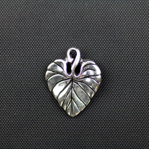 Violet Leaf Charm - Antique Silver
