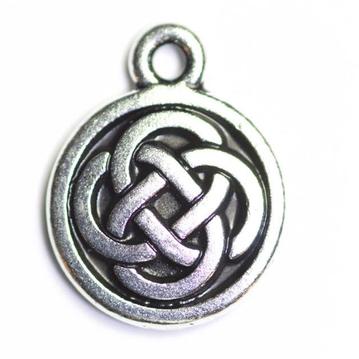 Celtic Round Charm - Antique Silver Plate