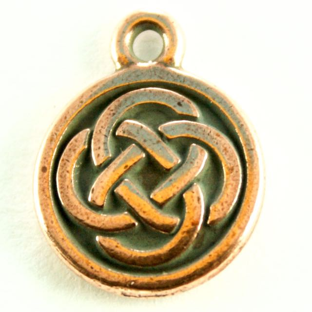 Celtic Round Charm - Antique Copper Plate