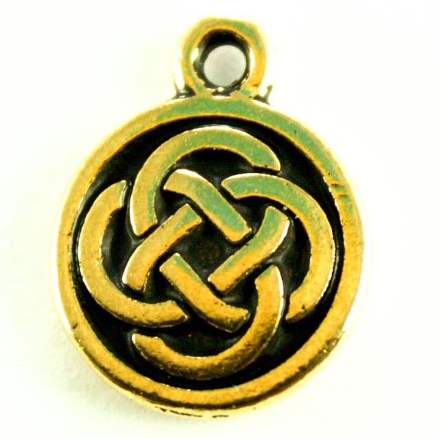 Celtic Round Charm - Antique Gold Plate