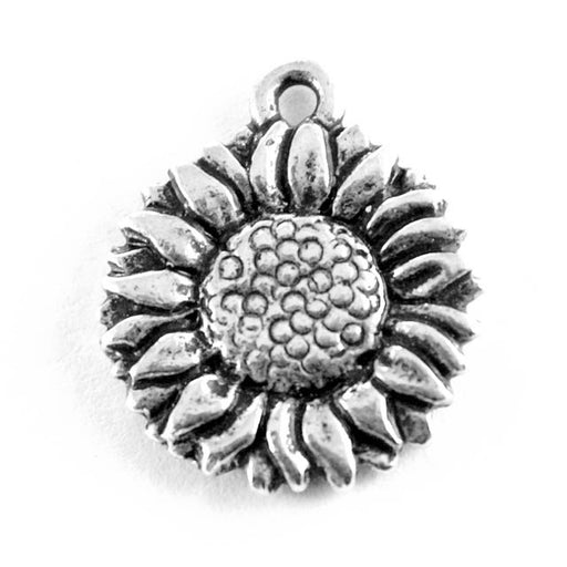 Sunflower Charm - Antique Silver