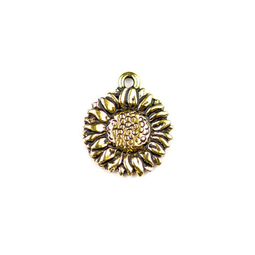 Sunflower Charm - Antique Gold Plate