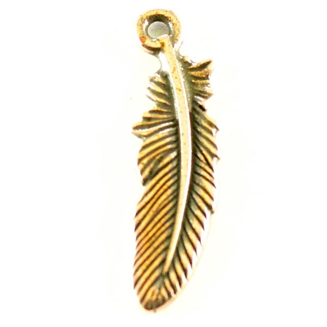 Small Feather Charm - Antique Copper