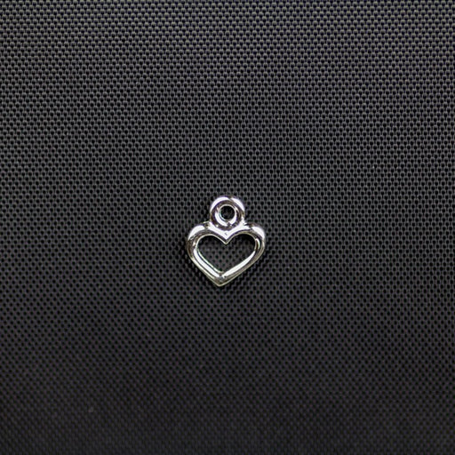 Open Heart Charm - Rhodium Plate