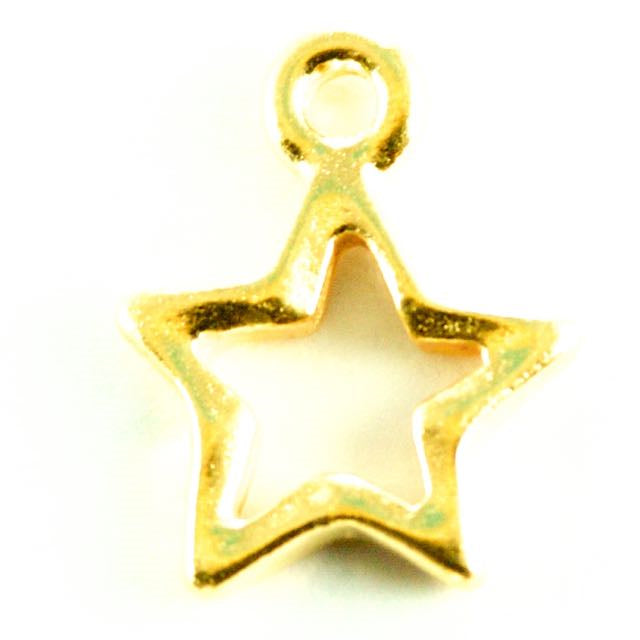 Open Star Charm - Gold Plate