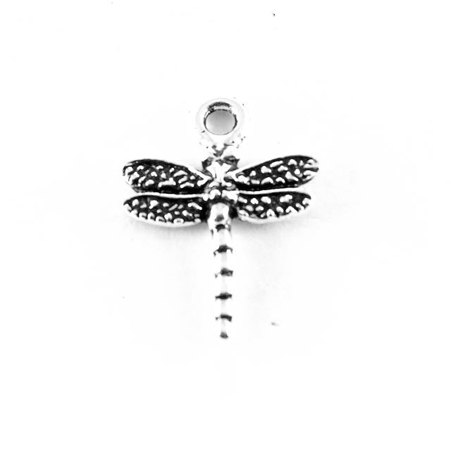 Dragonfly Charm - Antique Silver Plate